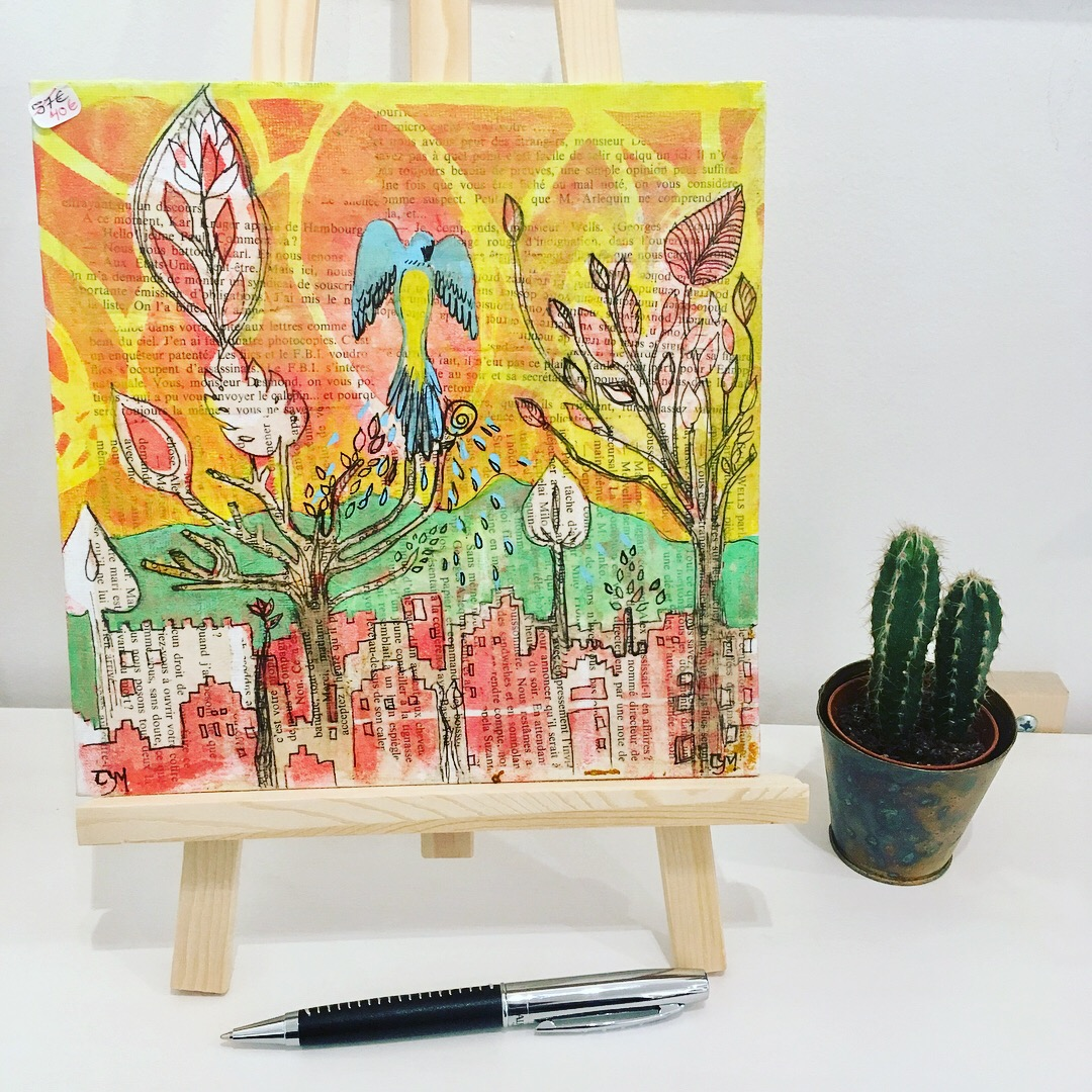Bluevert Soul-Peinture technique mixte-paysage urbain-motif tropical-perroquet-orange rouge vert-petit format- sans cadre-002