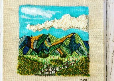 Tatiana Ynés Martin-TYM-Bluevert Soul- Peinture-Technique mixte- Punch needle-Promeades-Mon lieu rêvé-cerro El Avilar-blue vert -format 30x30cm