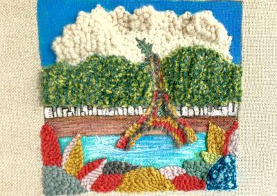 Tatiana Ynés Martin-TYM-Bluevert Soul- Peinture-Technique mixte- Punch needle-PromeadesPromenade aux Caraibes-El Avila Tour Eiffel-blue vert rouge-format 30x30cm