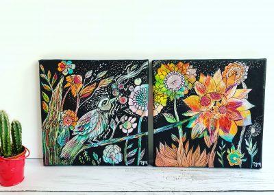 Tatiana Ynés Martin-TYM-Bluevert Soul- Peinture-Technique mixte- Romance-Dyptiqye Gardienne et semences-oiseau et fleurs-multicouleur-format carré-20x20cm.JPG