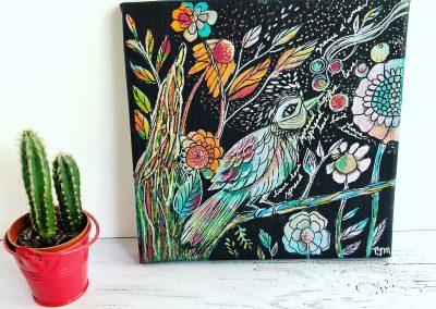 Tatiana Ynés Martin-TYM-Bluevert Soul- Peinture-Technique mixte- Romance-Gardienne semeuse-oiseau-multicouleur-format carré-20x20cm