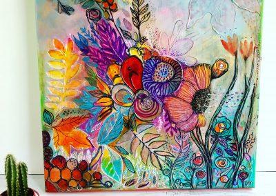 Tatiana Ynés Martin-TYM-Bluevert Soul- Peinture-Technique mixte- Romance automne-fleurs-multicouleur-format carré-40x40cm