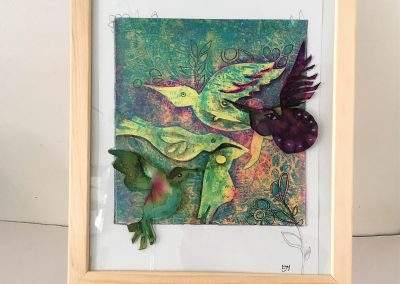 ILLUSTRATION-TYM-BLUEVERT SOUL-MIXED MEDIA ART-FLYING TOGETHER-29,7X21CM MIXTE SUR PAPIER