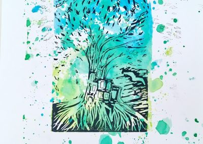 ILLUSTRATION-TYM-BLUEVERT SOUL-MIXED MEDIA ART-LIVING IN A TREE-29,7X21CM MIXTE SUR PAPIER