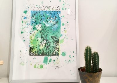 ILLUSTRATION-TYM-BLUEVERT SOUL-MIXED MEDIA ART-LIVING IN A TREE-BLEU ET VERT-29,7X21CM MIXTE SUR PAPIER