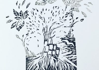 ILLUSTRATION-TYM-BLUEVERT SOUL-MIXED MEDIA ART-LIVING IN A TREE-NOIR ET BLANC-29,7X21CM MIXTE SUR PAPIER