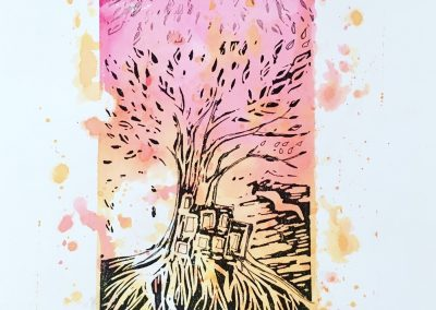 ILLUSTRATION-TYM-BLUEVERT SOUL-MIXED MEDIA ART-LIVING IN A TREE-ROSE ET ORANGE-29,7X21CM MIXTE SUR PAPIER