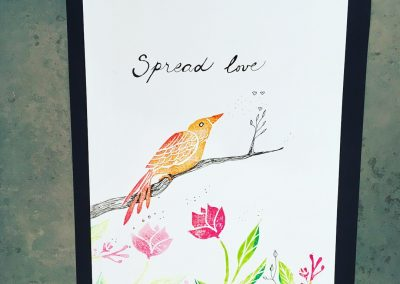 ILLUSTRATION-TYM-BLUEVERT SOUL-MIXED MEDIA ART-LIVING IN A TREE-SPREAD LOVE-29,7X21CM MIXTE SUR PAPIER