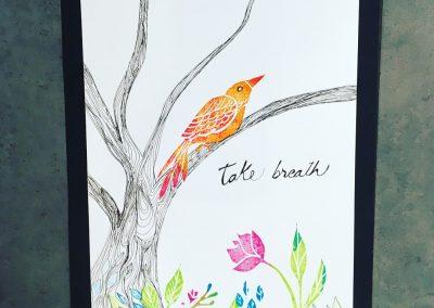 ILLUSTRATION-TYM-BLUEVERT SOUL-MIXED MEDIA ART-LIVING IN A TREE-TAKE A BREAK-29,7X21CM MIXTE SUR PAPIER