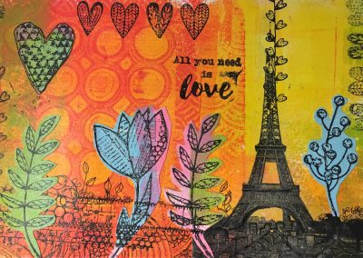 ILLUSTRATION-TYM-BLUEVERT SOUL-MIXED MEDIA ART-PARIS MON AMOUR-21X15,5 CM MIXTE SUR PAPIER