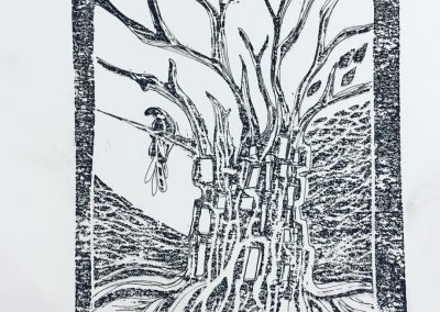 ILLUSTRATION-TYM-BLUEVERT SOUL-MIXED MEDIA ART-TREE LIFE-NOIR ET BLANC-29,7X21CM MIXTE SUR PAPIER
