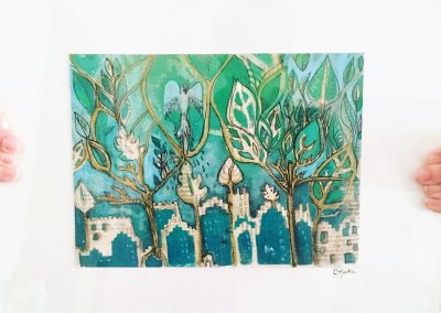 ILLUSTRATION-TYM-BLUEVERT SOUL-MIXED MEDIA ART-WELCOME TO DE JUNGLE-BLEU ET VERT-32X24 CM MIXTE SUR PAPIER.