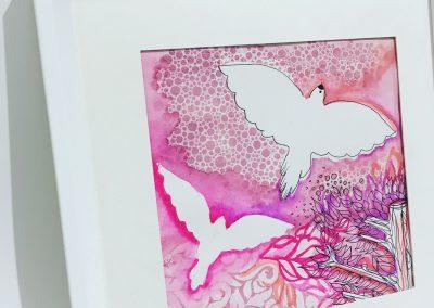 ILLUSTRATION-TYM-BLUEVERT SOUL-MIXED MEDIA ART-WINGS OF LOVE-ROSE-20X20 CM MIXTE SUR PAPIER