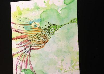 PAPETERIE-TYM-BLUEVERTSOUL-CARTE DES VOEUX-BIRD LOVE 2-FORMAT A6.J