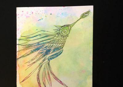 PAPETERIE-TYM-BLUEVERTSOUL-CARTE DES VOEUX-BIRD LOVE 3-FORMAT A6.J