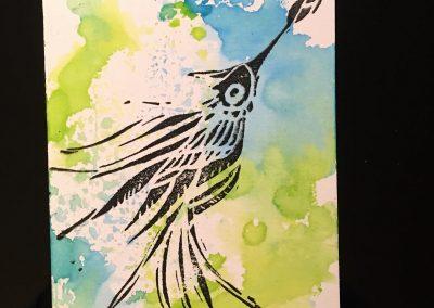 PAPETERIE-TYM-BLUEVERTSOUL-CARTE DES VOEUX-BIRD LOVE 4-FORMAT A6.J