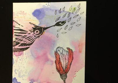PAPETERIE-TYM-BLUEVERTSOUL-CARTE DES VOEUX-BIRD LOVE-FORMAT A6