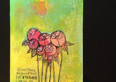 PAPETERIE-TYM-BLUEVERTSOUL-CARTE DES VOEUX-FLOWER LOVE-FORMAT A6.J0412