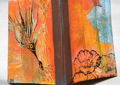PAPETERIE-TYM-BLUEVERTSOUL-MIXED MEDIA ART-CARNET-COUVERTURE MONOTYPE-MOTIF FLORAL ORANGE-PAGES LIGNÉES-FORMAT A6