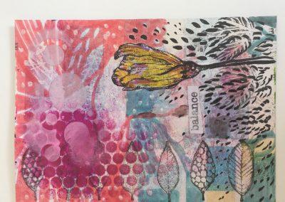 PAPETERIE-TYM-BLUEVERTSOUL-MIXED MEDIA ART-CARTE POSTALE-BALANCE-FLOWERS LOVER-FORMAT A6-PAPIER ÉPAIS