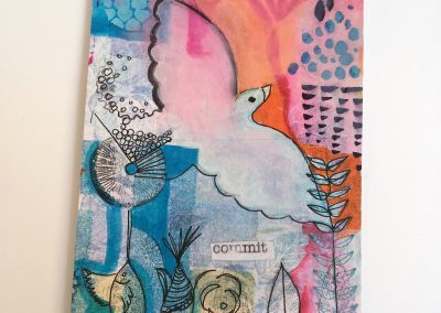 PAPETERIE-TYM-BLUEVERTSOUL-MIXED MEDIA ART-CARTE POSTALE-COMMIT-COLOMBE-FORMAT A6-PAPIER ÉPAIS