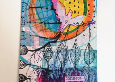 PAPETERIE-TYM-BLUEVERTSOUL-MIXED MEDIA ART-CARTE POSTALE-CONNECT-PALOMA-FORMAT A6-PAPIER ÉPAIS