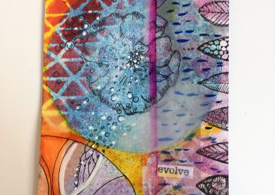 PAPETERIE-TYM-BLUEVERTSOUL-MIXED MEDIA ART-CARTE POSTALE-EVOLVE-FLEURS BLEU ORANGE-FORMAT A6-PAPIER ÉPAIS