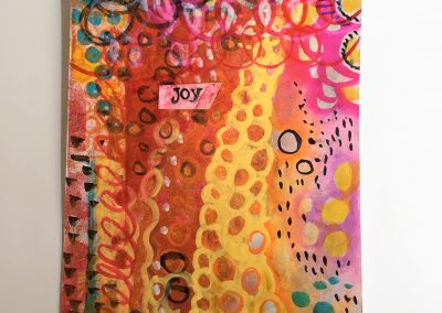 PAPETERIE-TYM-BLUEVERTSOUL-MIXED MEDIA ART-CARTE POSTALE-JOY-LIFE-FORMAT A6-PAPIER ÉPAIS
