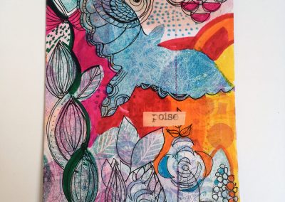 PAPETERIE-TYM-BLUEVERTSOUL-MIXED MEDIA ART-CARTE POSTALE-POISE-BLUE BIRD-FORMAT A6-PAPIER ÉPAIS