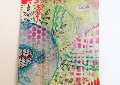PAPETERIE-TYM-BLUEVERTSOUL-MIXED MEDIA ART-CARTE POSTALE-THINK-MOTIF PAPILLON-FORMAT A6-PAPIER ÉPAIS