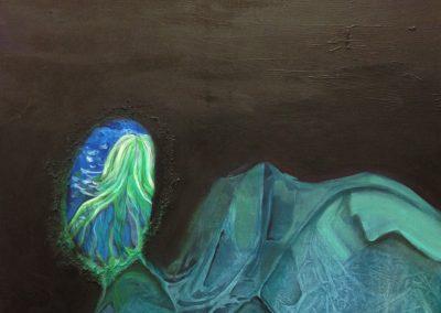 PEINTURE-TYM-BLUEVERT SOUL-MIXED MEDIA ART-A L ORIGINE-100X81CM- MIXTE SUR TOILE