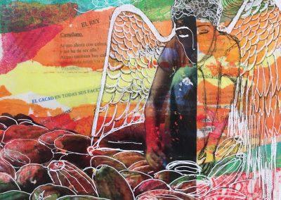 PEINTURE-TYM-BLUEVERT SOUL-MIXED MEDIA ART-CACAO ANGEL I-30x24 CM-MIXTE SUR TOILE