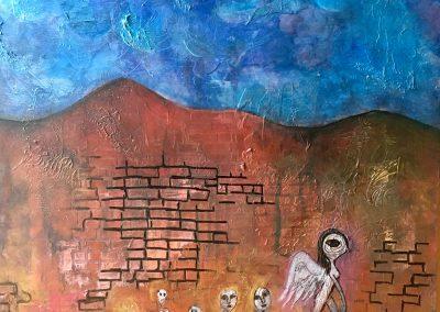 PEINTURE-TYM-BLUEVERT SOUL-MIXED MEDIA ART-CARACAS BAL DU JOUR- 60X60 CM -MIXTE SUR BOIS