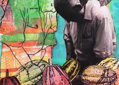 PEINTURE-TYM-BLUEVERT SOUL-MIXED MEDIA ART-LE GRAND CACAO-40x30 CM-MIXTE SUR TOILE