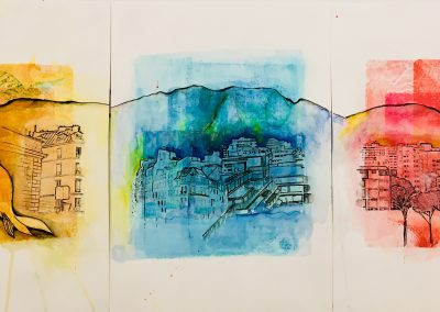 PEINTURE-TYM-BLUEVERT SOUL-MIXED MEDIA ART- MI QUERENCIA PARIS CARACAS-42X90-MIXTE SUR PAPIER