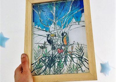 PEINTURE-TYM-BLUEVERT SOUL-MIXED MEDIA ART-URBAN TROPICAL JUNGLE LIFE BLEU-24X20 CM -MIXTE SUR PAPIER
