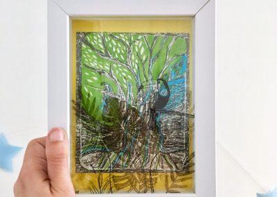 PEINTURE-TYM-BLUEVERT SOUL-MIXED MEDIA ART-URBAN TROPICAL JUNGLE LIFE GREEN-24X20 CM -MIXTE SUR PAPIER