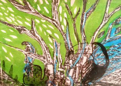 PEINTURE-TYM-BLUEVERT SOUL-MIXED MEDIA ART-URBAN TROPICAL JUNGLE LIFE GREEN-MOTIF TOUCAN-24X20 CM -MIXTE SUR PAPIER