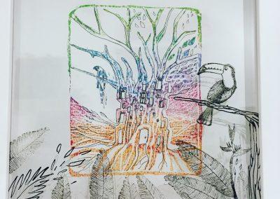PEINTURE-TYM-BLUEVERT SOUL-MIXED MEDIA ART-URBAN TROPICAL JUNGLE-TOUCAN-20X20 CM -MIXTE SUR PAPIER ET PET