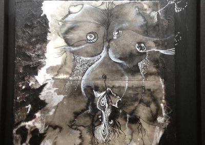 PEINTURE-TYM-BLUEVERT SOUL-MIXED MEDIA ART-Voyage Intime III Fecondite-40x50 CM