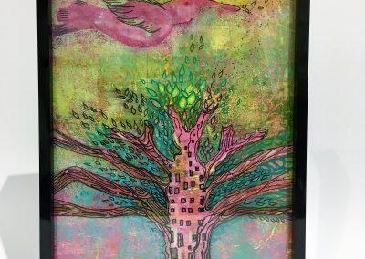 PEINTURE-TYM-BLUEVERT SOUL-MIXED MEDIA ART-birdie city-19X25 CM-rose et vert -MIXTE SUR BOIS