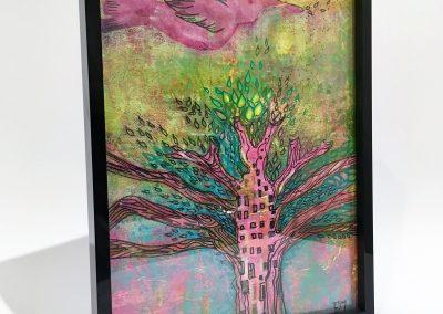 PEINTURE-TYM-BLUEVERT SOUL-MIXED MEDIA ART-birdie city-motifs arbre et oiseau-19X25 CM -MIXTE SUR BOIS