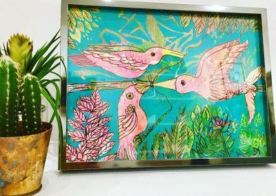 PEINTURE-TYM-BLUEVERT SOUL-MIXED MEDIA ART-birdie love-19X25 CM -MIXTE SUR BOIS