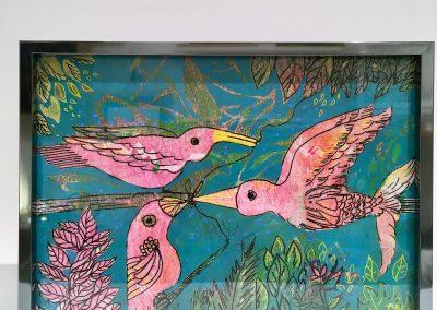 PEINTURE-TYM-BLUEVERT SOUL-MIXED MEDIA ART-birdie love-color rose et vert-19X25 CM -MIXTE SUR BOIS