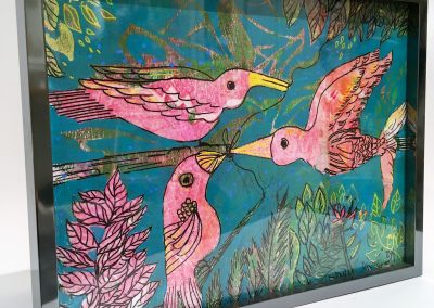 PEINTURE-TYM-BLUEVERT SOUL-MIXED MEDIA ART-birdie love-motif oiseaux et feuillage-19X25 CM -MIXTE SUR BOIS