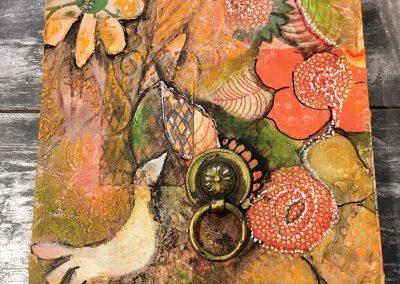 PEINTURE-TYM-BLUEVERT SOUL-MIXED MEDIA ART-birdie spring-motifs feuille fleurs et oiseau-20X20 CM -MIXTE SUR BOIS