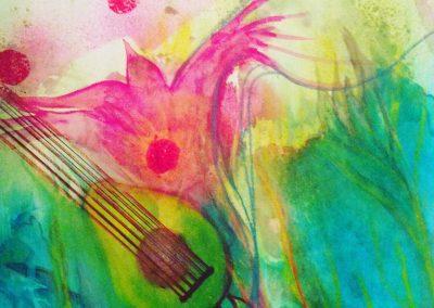 PEINTURE-TYM-BLUEVERT SOUL-MIXED MEDIA ART- salade concert I-65X50 CM- MIXTE SUR PAPIER