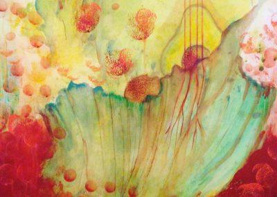 PEINTURE-TYM-BLUEVERT SOUL-MIXED MEDIA ART- salade concert II-65X50 CM- MIXTE SUR PAPIER