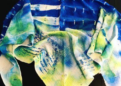 TEXTILES-TYM-BLUEVERT SOUL-FOULARD-TEINTURE SHIBORI-BLEU VERT JAUNE