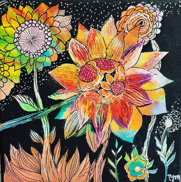 colorful painting for flowers lovers